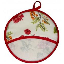 Round Potholder - Red Flowers
