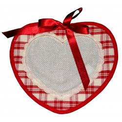 Fabric Heart Decoration - Red Squares