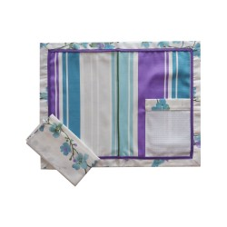 Individual Tablecloth to Cross Stitch - Esty Style - Turquoise and Lilac