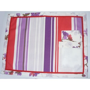 Mantel Individual para Bordar - Estilo Esty - Lineas Rojas y Lila