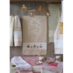 Fratelli Graziano - Paño de Cocina de Rizo para Navidad - Gingerbread - Color Miel