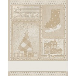 DMC - Christmas Kitchen Towel Retro - Gold Ecru'