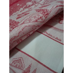 Red Christmas Kitchen Towel - Winter Landscape