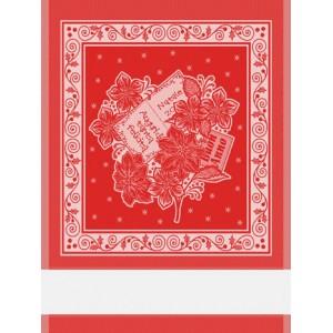 Asciugapiatti Natalizio con Stelle di Natale - Rosso