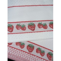Set of Two Terry Dishtowels Ready to Stitch - Strawberries