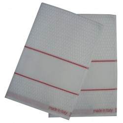 Kitchen Terry Towel with Aida Band - Red Border