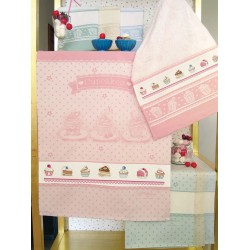 Fratelli Graziano - Terry Kitchen Towel- Cupcakes - Color Pink