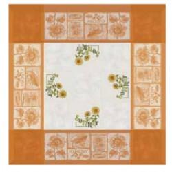 Mantel de color Naranja Girasoles - 90x90 cm