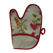 Oven Glove -  Red Flowers