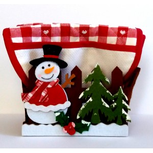 Christmas Felt Basket with Pot Holders to Cross Stitch