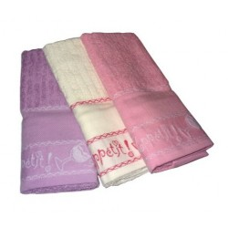 Set Terry Dish Towels Viviana - Bon Appetit Pink