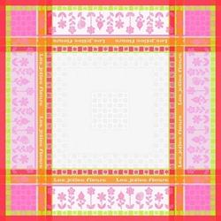 Orange Tablecloth Les Jolies Fleurs - 90x90 cm