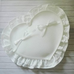 Heart Wedding Pillow - White