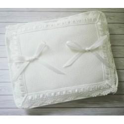 Rectangular Wedding Pillow with Aida Insert to  Cross Stitch - White
