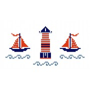 Cross Stich Pattern - Sailboat and Lighthouse