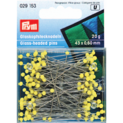 Prym - Yellow Glass Headed Pins