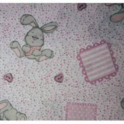 Tessuto Cotone - Fantasia Coniglietti Rosa