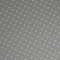 Cream Cotton Fabric with White Hearts - Width 280 cm