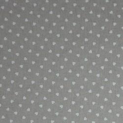 Tessuto in Cotone Ecru con Cuoricini Bianchi  - Altezza 280 cm