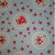 Light Blue Jessie Fabric with Roses Fancy - Width 280 cm