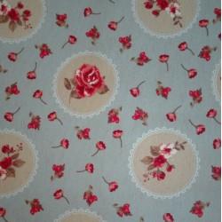 Tessuto Jessie Azzurro con Rose - Altezza 280 cm