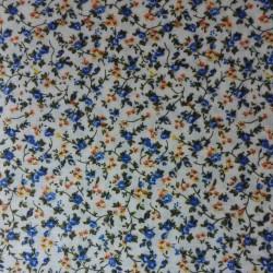 Tessuto Patchwork - Fiori Blu e Gialli