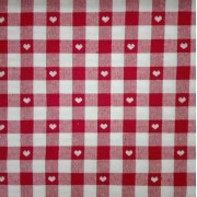 Checkered Fabric - Width 140 cm - Red Hearts