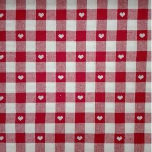 Tessuto Quadretti con Cuoricini Altezza 140 cm  - Rosso