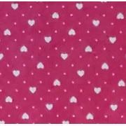 Tessuto Patchwork - Rosa con Cuoricini Bianchi