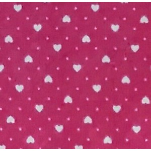 Patchwork Fabric  Pink with White Hearts