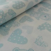 Light Blue Teddy Bear Fancy Cotton Fabric