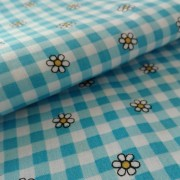 Checkered Fancy Cotton Fabric -  Turquoise with Flowers