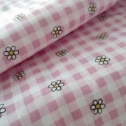 Checkered Fancy Cotton Fabric -  Pink with Flowers