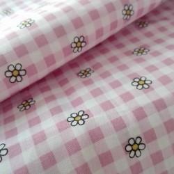 Tessuto in Puro Cotone - Quadri Rosa e Fiori