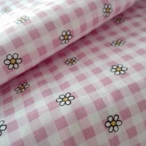 Tela de Algodon - Cuadros Rosa y Flor
