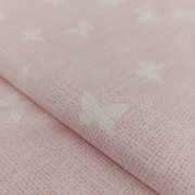 Pink Cotton Fabric with Butterflies - Width 300 cm
