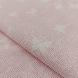 Tessuto in Cotone Rosa con Farfalle - Altezza 300 cm