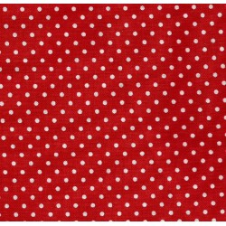 Tessuto Patchwork - Rosso con Pois Bianchi