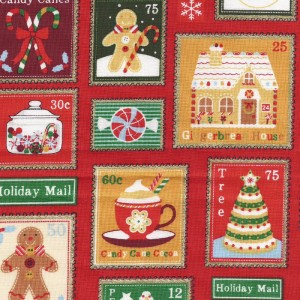 Patchwork Fabric - Christmas Motifs in Red