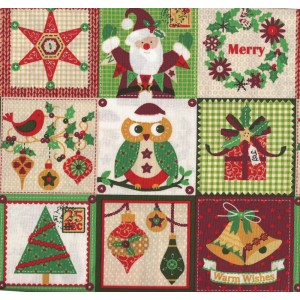 Patchwork Fabric - Christmas Motifs in White