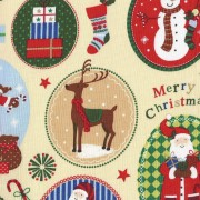 Patchwork Fabric - Christmas Motifs in Cream