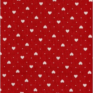 Patchwork Fabric  Red with White Hearts