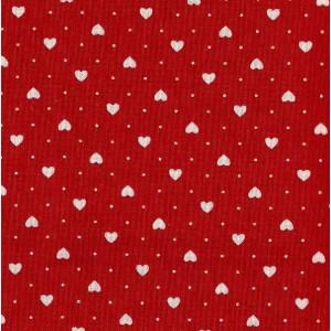 Tessuto Patchwork - Rosso con Cuoricini Bianchi