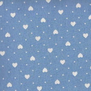 Patchwork Fabric  Light Blue with White Hearts