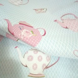 Cotton Patchwork Fabric - Cups and Teapots