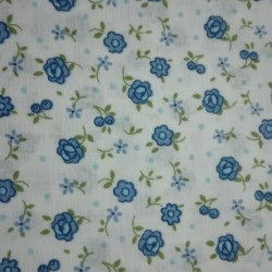 Patchwork Fabric Cream with Blue Flowers