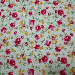 Patchwork Fabric Light Water Green with Fuchsia Roses