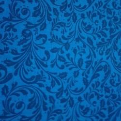 Tessuto Patchwork Blu con Ramage