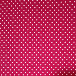 Tessuto in Cotone Rosso con Pois Bianchi