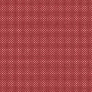 Tessuto in Cotone Rosso Micro Pois Bianchi